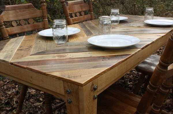 The Recycled Pallet Dining Table 16 Perfect Ideas  : pallet dining table 11 from palletfurnitureplans.com size 600 x 397 jpeg 96kB