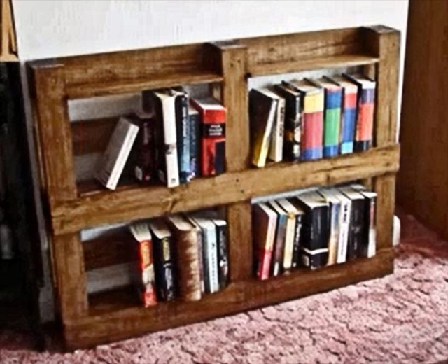 diy bookshelf ideas with pallet wood pallet furniture plans. Black Bedroom Furniture Sets. Home Design Ideas