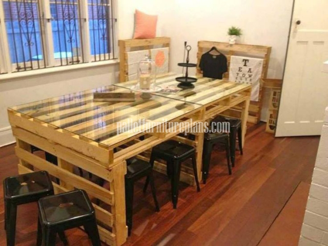 Creative with pallets diy pallet furniture plans - Table a manger palette ...
