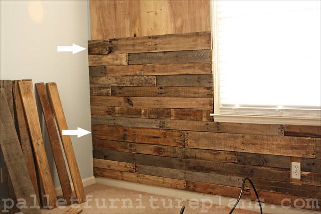 a great idea of pallet wood wall