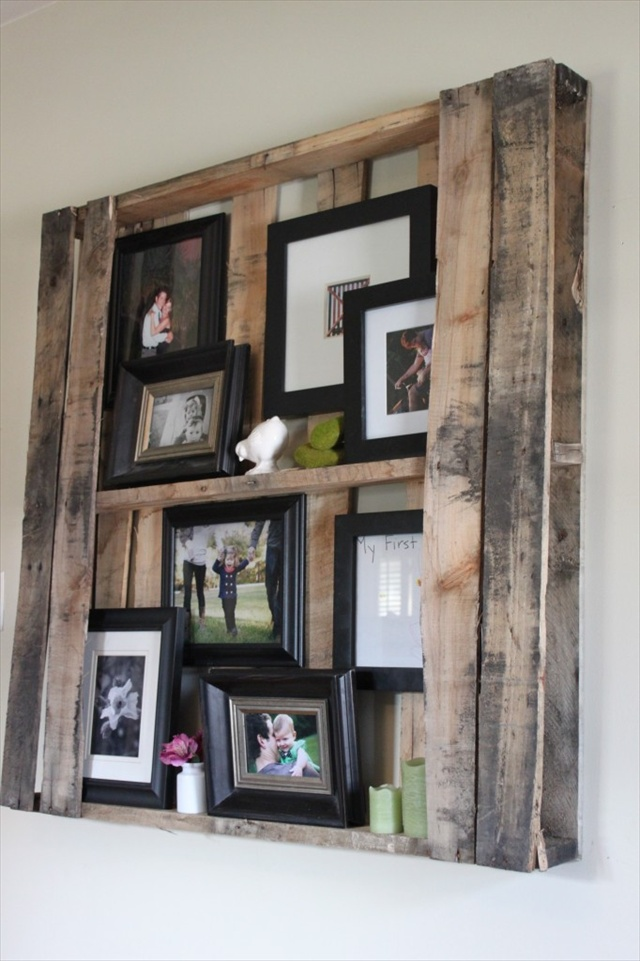pallet floating shelves to hang portrait of your family