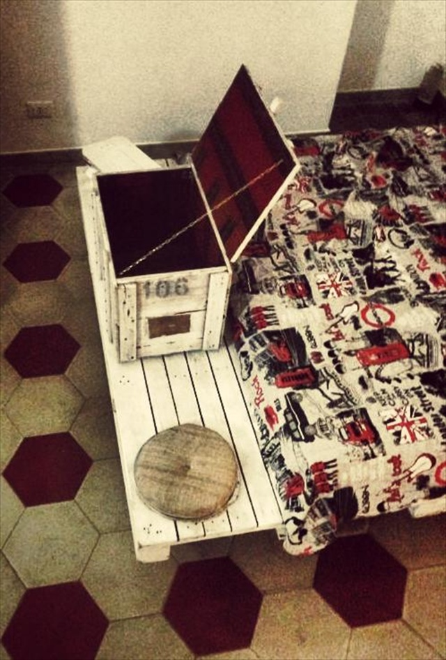 pallet bed and diy storage box