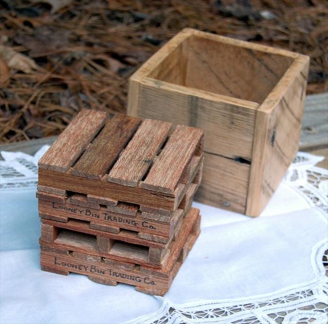 Pallet Coaster Set with Storage Box