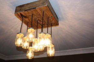 Pallet Wood Square Mason Jar Chandelier