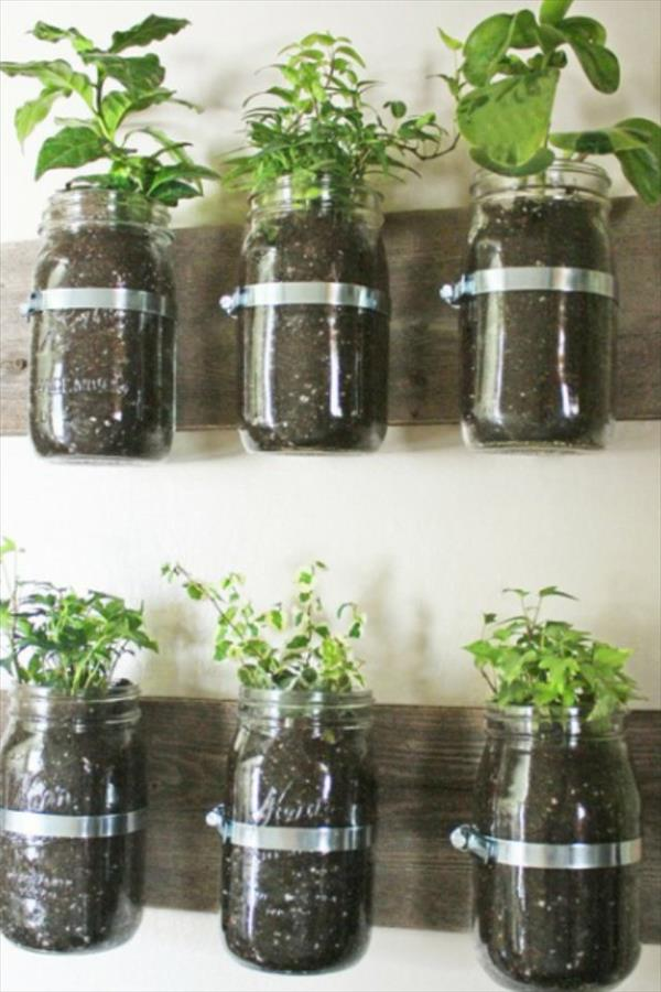 Pallet Mason Jar Storage Shelf