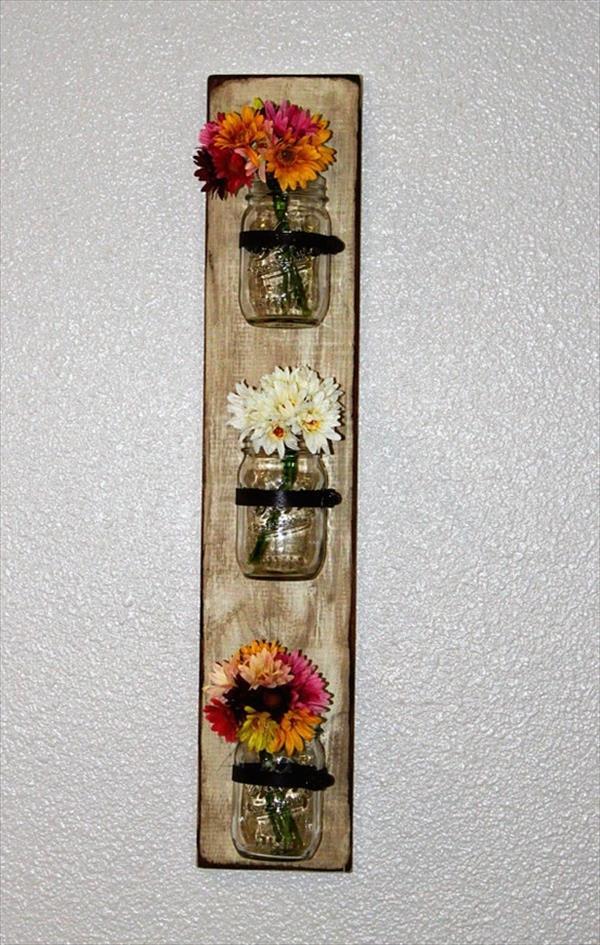 Pallet Mason Jars Hanging Wall