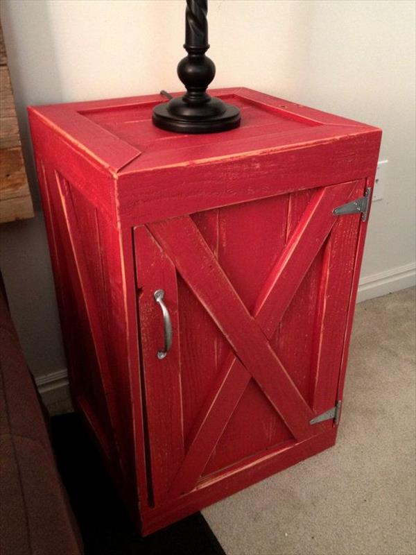 DIY Red Pallet Nightstand