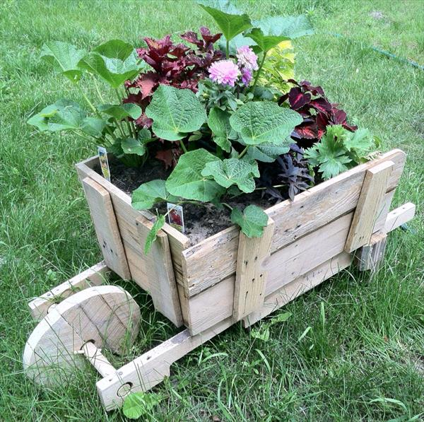 Pallet Wheel Barrel Planter