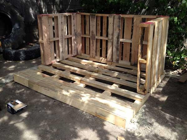 attaching pallet boards for playhouse