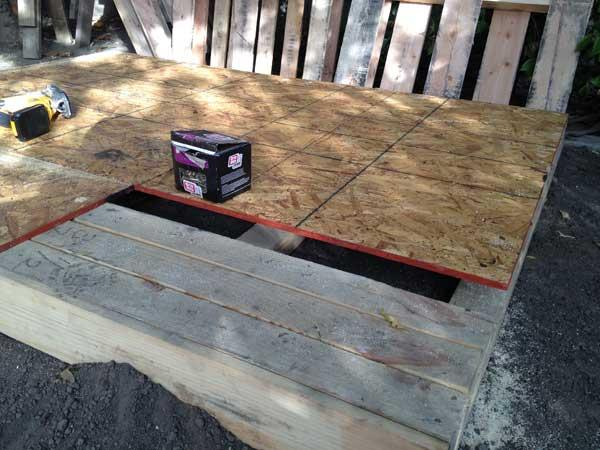 making of base of pallet play house