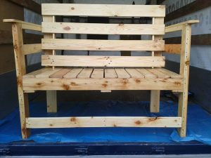 Outdoor Seating Bench Made From Pallets Wood