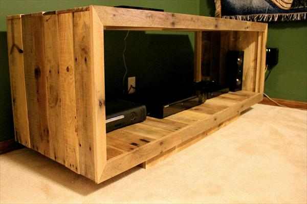 reclaimed pallet media console box