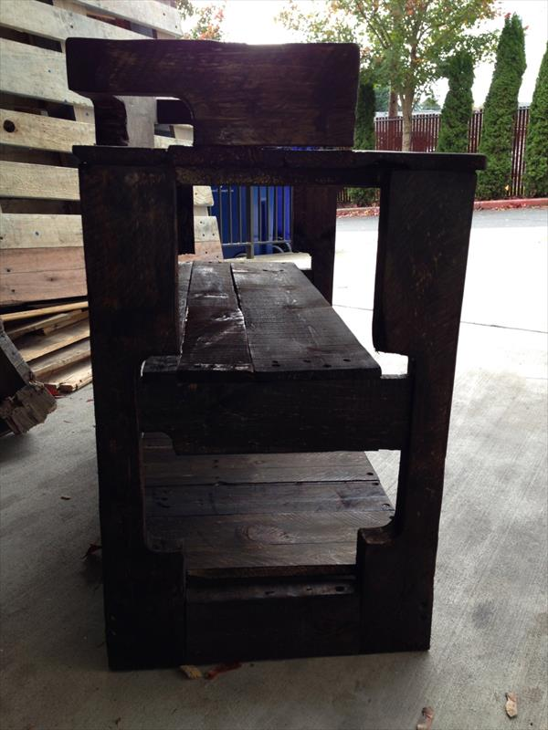 Recycled Pallet Entry Bench Storage Rack Pallet