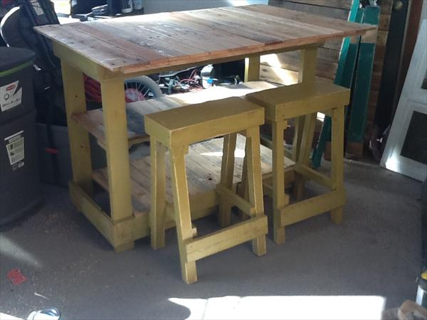 reclaimed pallet kitchen island with stools