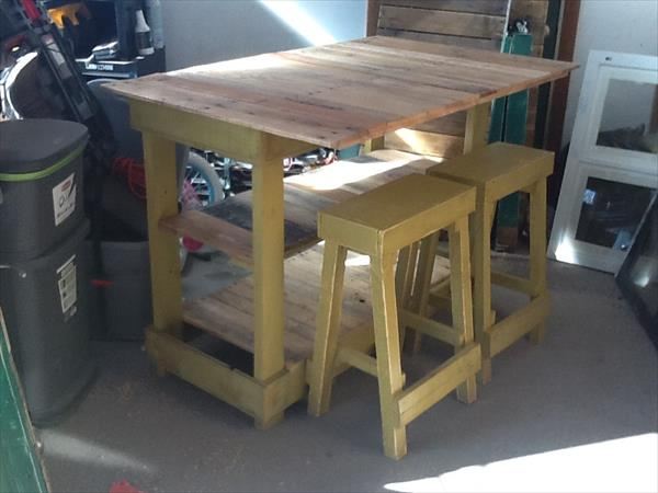 repurposed pallet kitchen island with stools