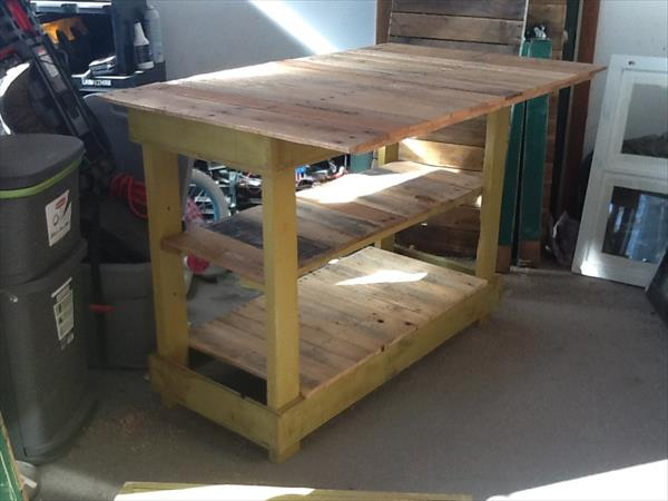 Diy pallet kitchen island table with stools
