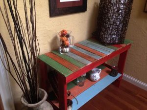 DIY Colorful Pallet Sofa Side Table