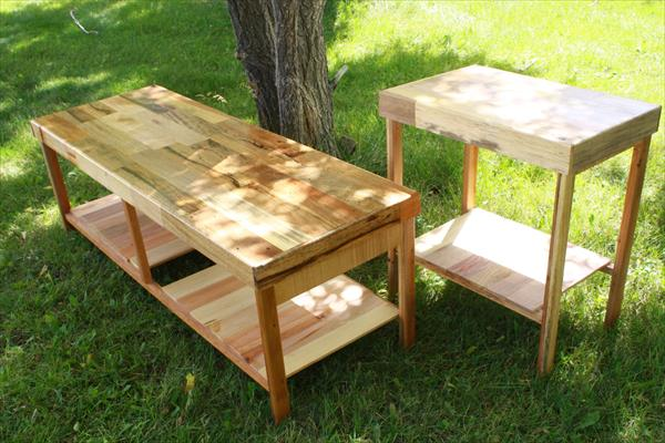 reclaimed pallet coffee table and end table