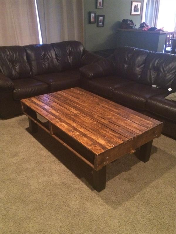 Diy simple pallet wood coffee table pallet furniture plans Homemade coffee table plans