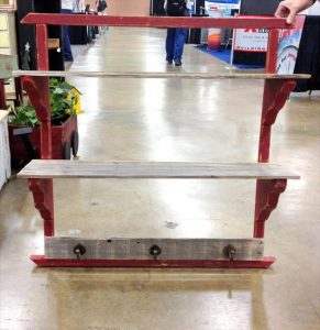 recycled pallet shelf with coat hanger