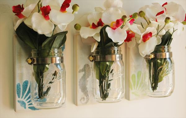 recycled pallet and mason jar idea