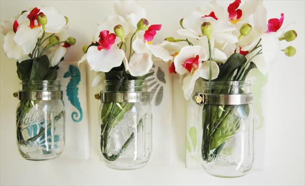 reclaimed pallet decorative mason jars