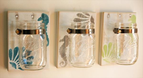 repurposed pallet and mason jars flower holder
