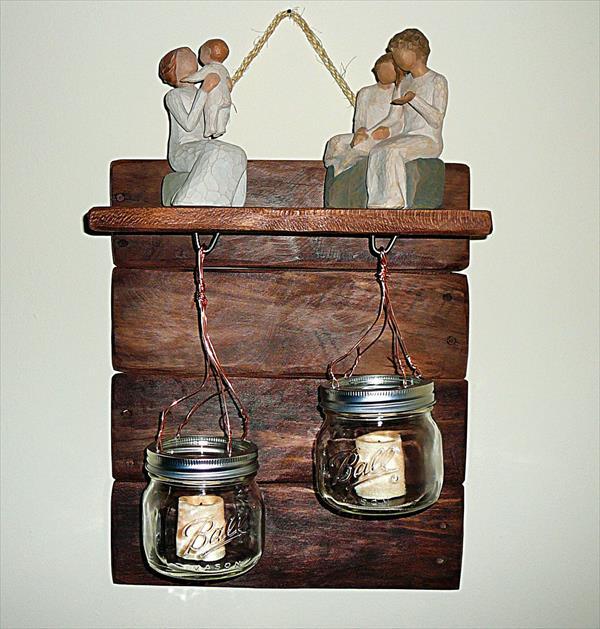 diy pallet shelf with mason jar candles