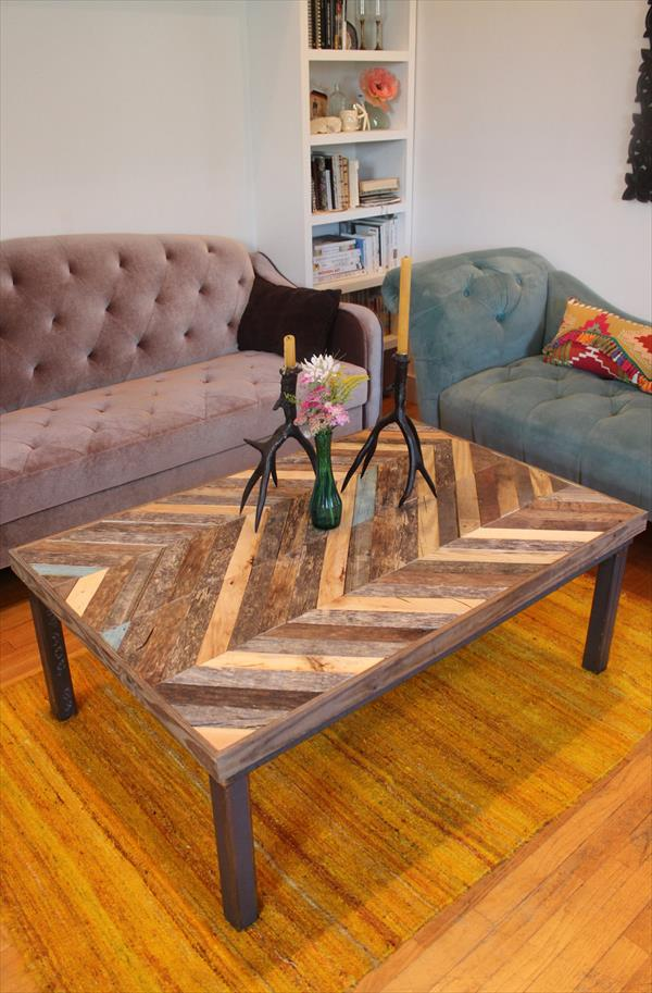 rustic pallet chevron coffee table