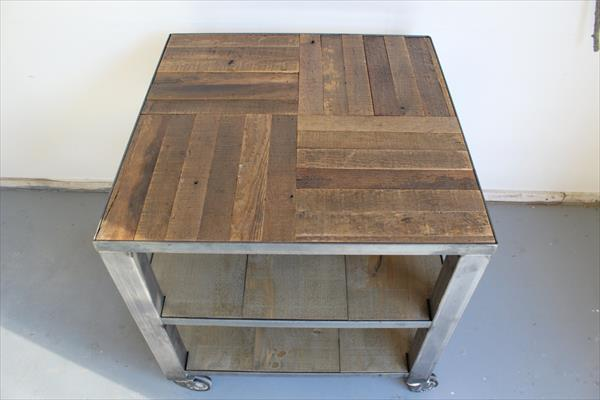 upcycled pallet steel frame coffee table