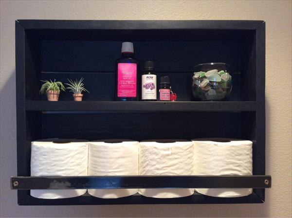salvaged pallet bathroom shelf