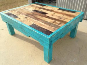 Teal Color: Pallet Coffee Table