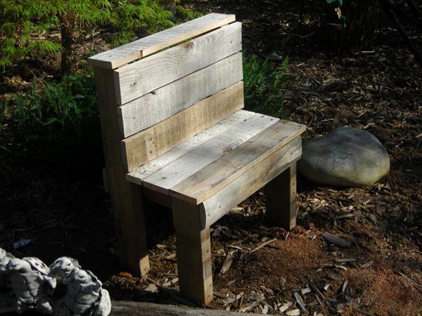 restored pallet garden bench