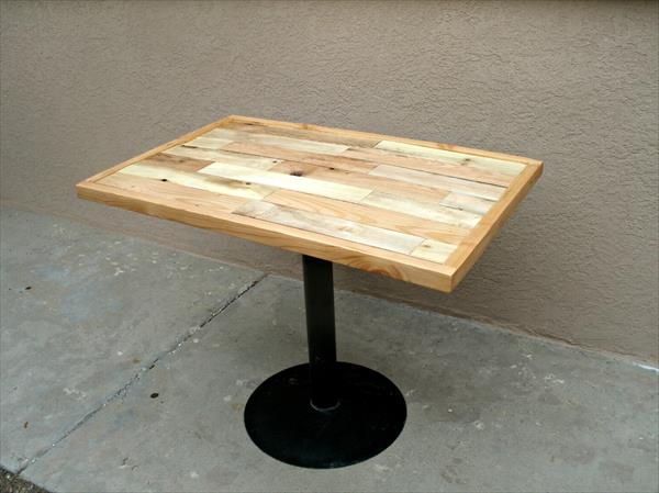 repurposed pallet metal pedestal table