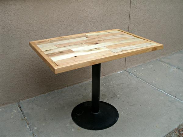 restored pallet metal dining table