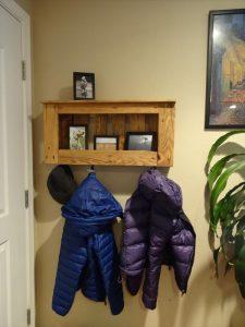 reestablished pallet shelf and coat rack