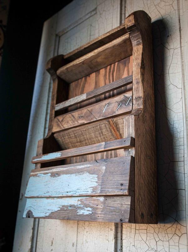 restored pallet wall shelf