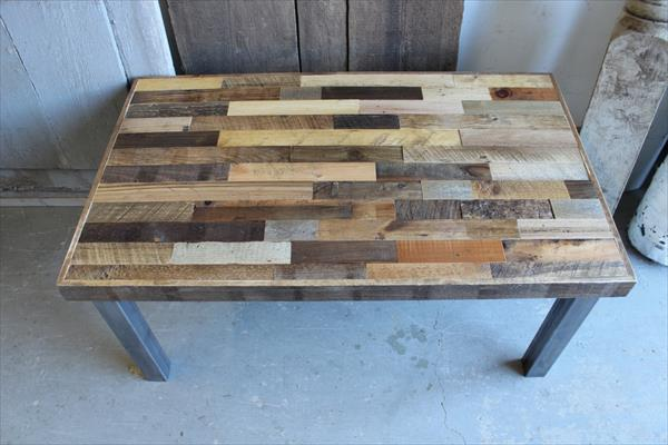 recycled pallet steel leg coffee table