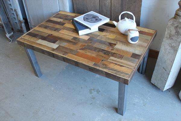 salvaged pallet steel leg coffee table