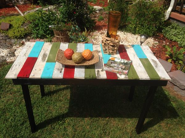 recycled pallet accent table