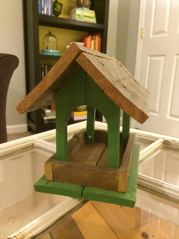upcycled palled bird feeder