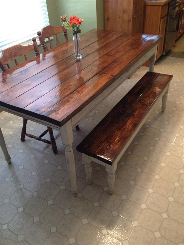 Diy pallet farmhouse table pallet furniture plans Diy farmhouse table
