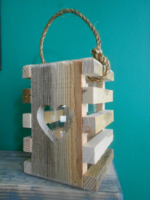 recycled pallet heart lantern
