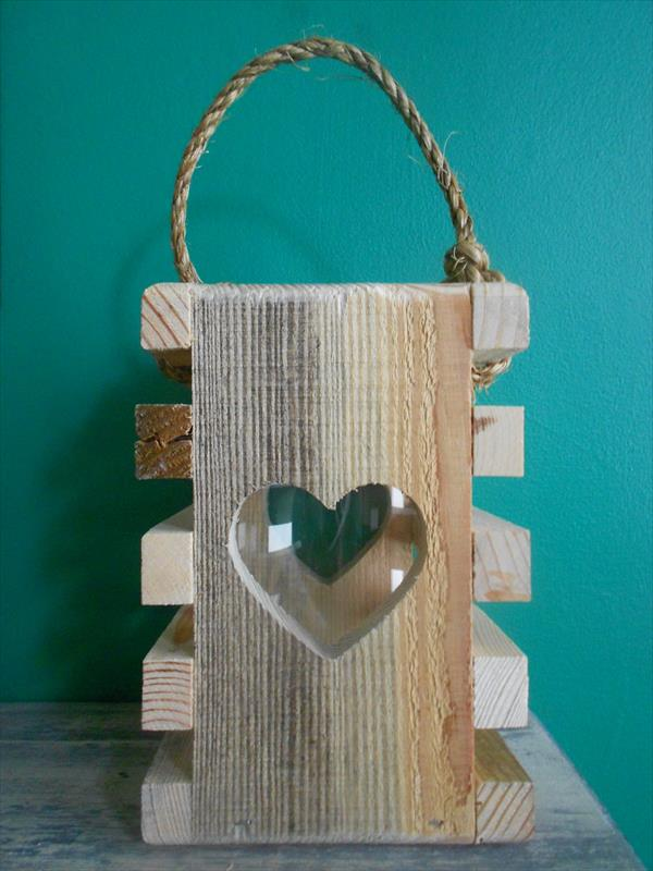 upcycled pallet heart lantern