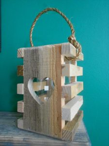 upcycled pallet rustic heart lantern
