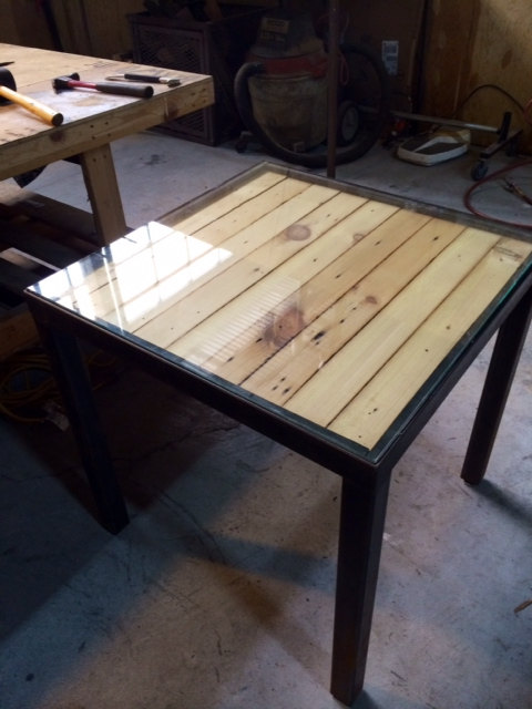 recycled pallet metal frame coffee table