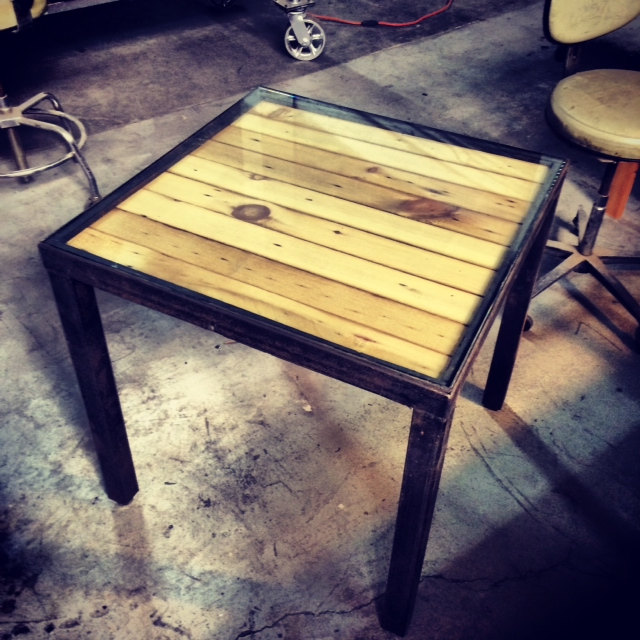 upcycled pallet metal frame coffee table