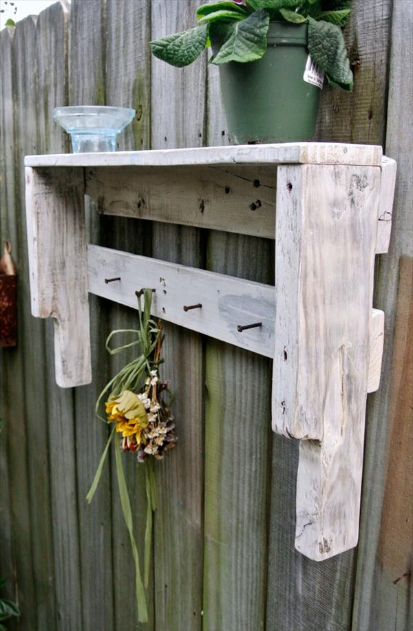 reclaimed pallet white shelf
