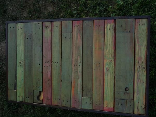 reclaimed pallet colorful outdoor table