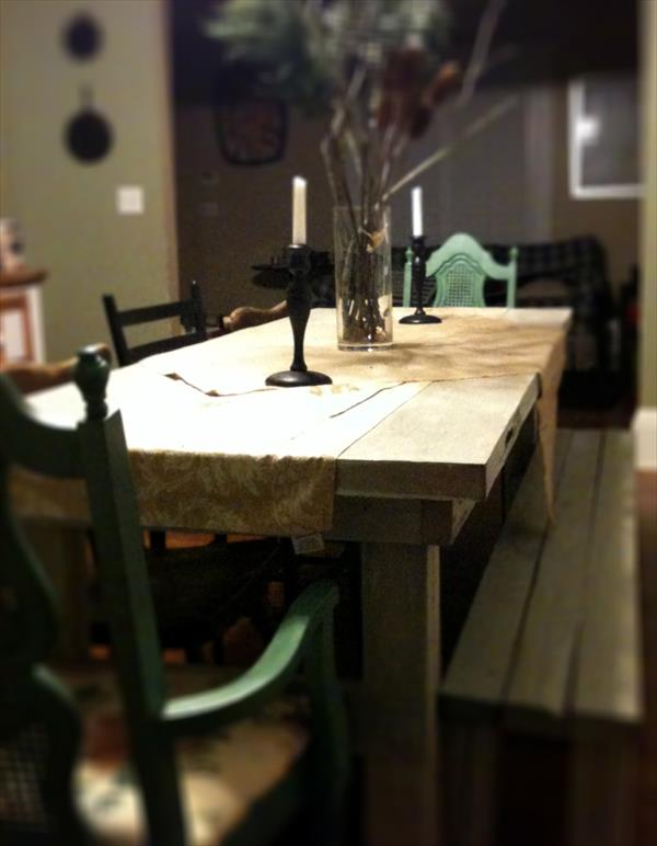 recycled door pallet dining table